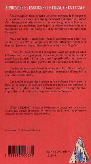 4eme Apprendre et enseigner le français en France