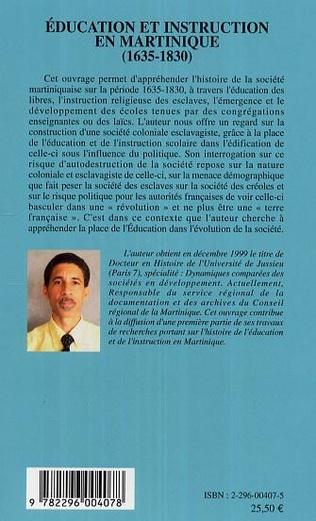 4eme Education et instruction en Martinique (1635-1830)