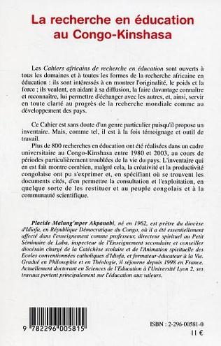 4eme La recherche en éducation au Congo-Kinshasa