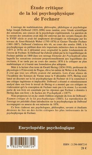 4eme Etude critique de la loi psychophysique de Fechner