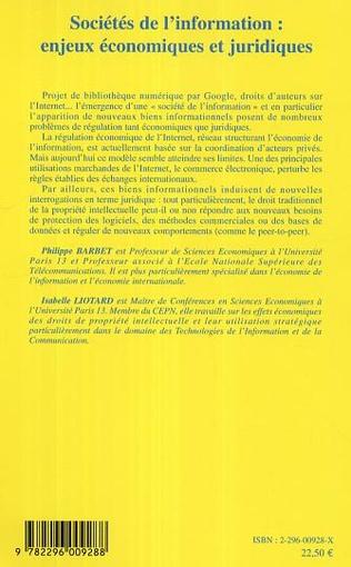 4eme Sociétés de l'information: enjeux économiques et juridiques