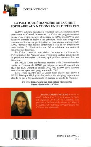 4eme La politique étrangère de la Chine populaire aux Nations Unies depuis 1989