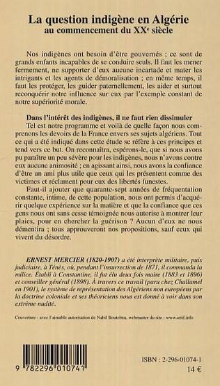 4eme La question indigène en Algérie