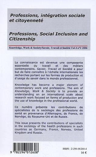 4eme Professions, intégration sociale et citoyenneté / Professions, Social Inclusion and Citizenship
