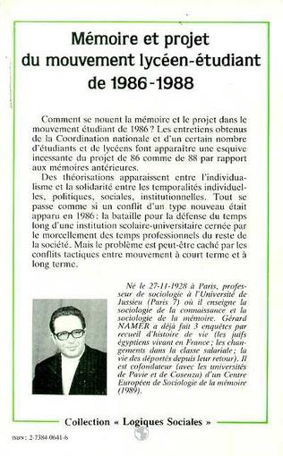 4eme Mémoire et projet du mouvement lycéen-étudiant de 1986-1988