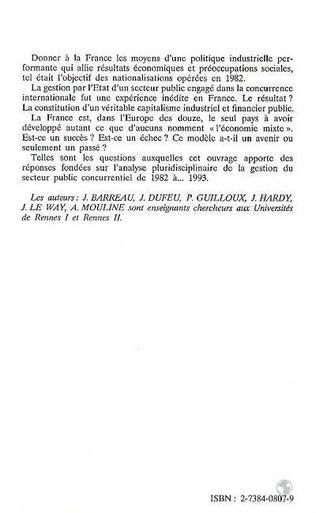 4eme L'Etat entrepreneur : nationalisations, gestion du secteur public concurrentiel, construction européenne (1982-1993)