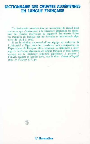 4eme Dictionnaire des oeuvres algériennes en langue française