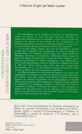 4eme Colonisation, enseignement et éducation