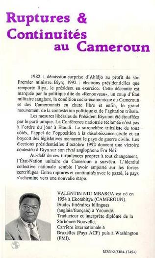 4eme Ruptures et continuités au Cameroun