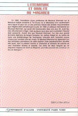 4eme Littérature et oralité au Maghreb (n°15-16)