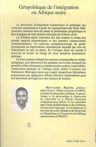 4eme Géopolitique de l'intégration en Afrique Noire