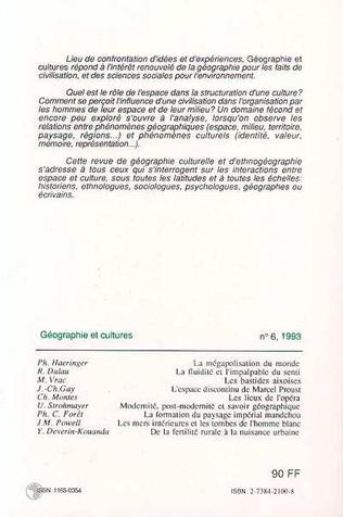 4eme Géographie et cultures n°6