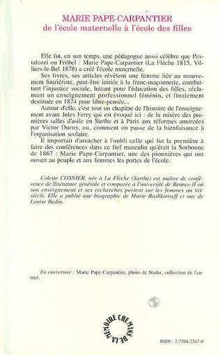 4eme Marie Pape-Carpantier : de l'école maternelle à l'école des filles