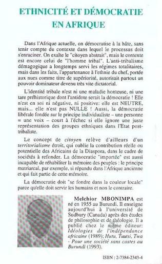 4eme Ethnicité et démocratie en Afrique