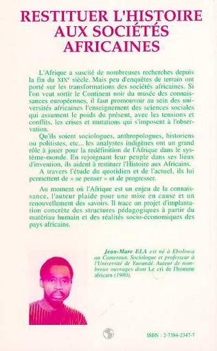 4eme Restituer l'histoire aux sociétés africaines