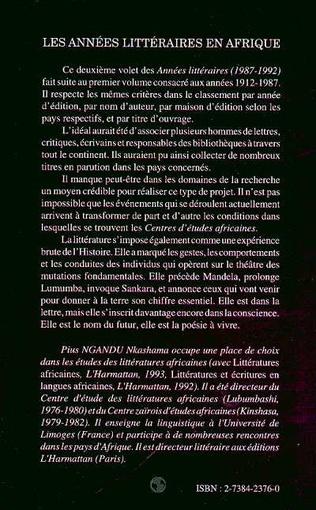 4eme Les années littéraires en Afrique (1987-1992)