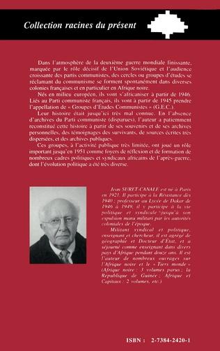 4eme Groupes d'études communistes (G.E.C.) en Afrique Noire