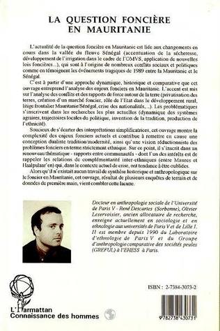 4eme La question foncière en Mauritanie