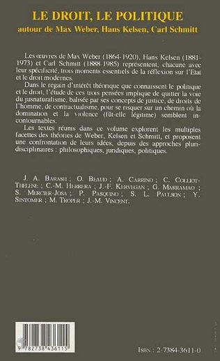 4eme Le droit, le politique autour de Max Weber, Hans Kelsen et Carl Schmitt