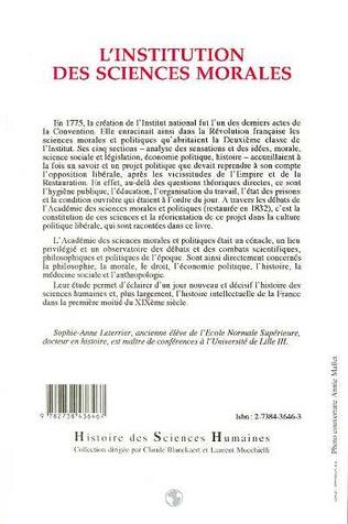4eme L'institution des sciences morales (1795-1850)