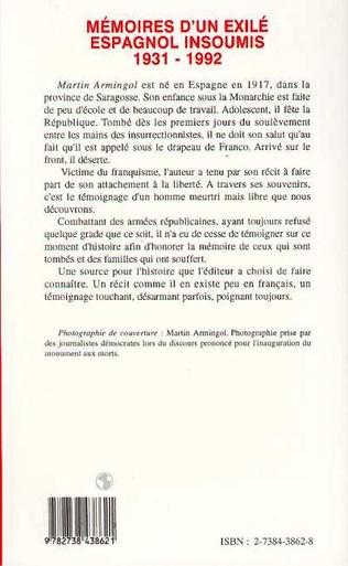 4eme Mémoires d'un exilé espagnol insoumis 1931-1992