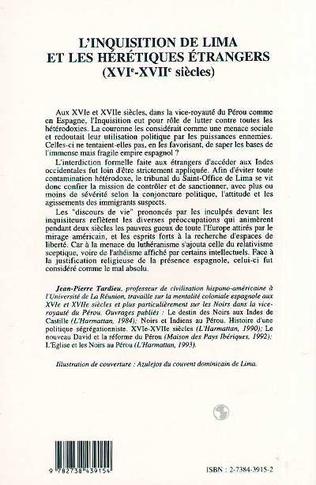 4eme L'inquisition de Lima et les hérétiques étrangers (XVI-XVIIème siècle)