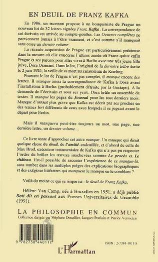 4eme En deuil de Franz Kafka