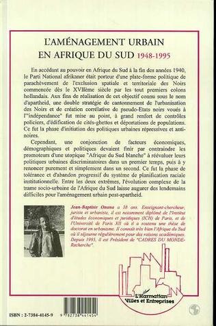 4eme L'aménagement urbain en Afrique de Sud 1948-1995