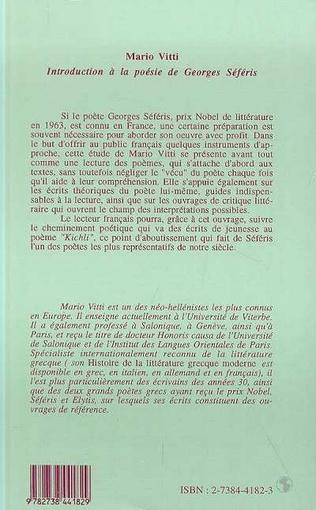 Introduction à La Poésie De Georges Seferis Mario Vitti
