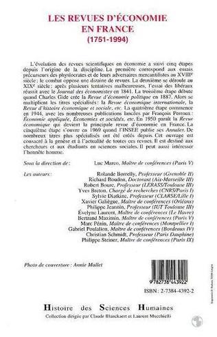 4eme Revues d'économie en France (1751-1994)