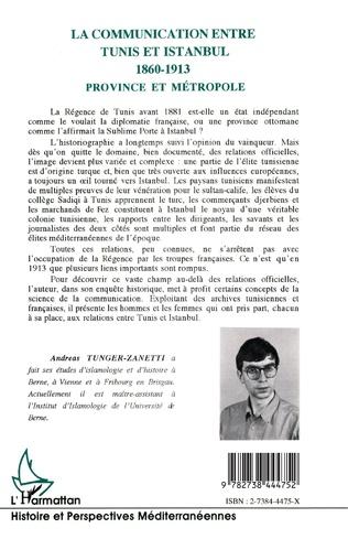 4eme La communication entre Tunis et Istanbul 1860-1913