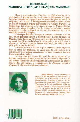 4eme Dictionnaire mahorais-français / français-mahorais