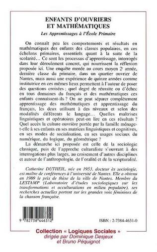 4eme ENFANTS D'OUVRIER ET MATHÉMATIQUES