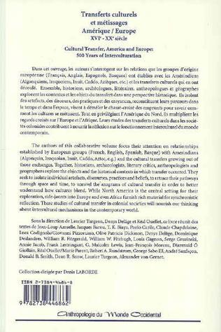 4eme Transferts culturels et métissages Amérique/Europe : XVIè-XXè siècles