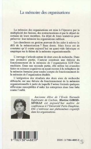 4eme LA MEMOIRE DES ORGANISATIONS