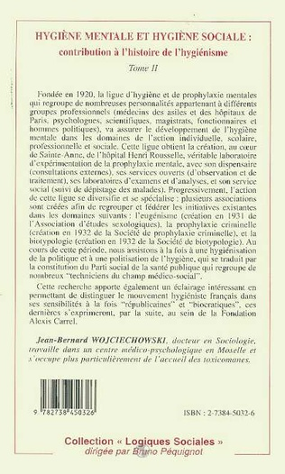 4eme HYGIENE MENTALE ET HYGIENE SOCIALE : CONTRIBUTION A L'HISTOIRE DE L'HYGIENISME