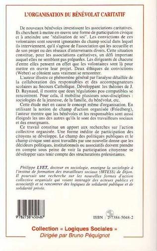 4eme L'ORGANISATION DU BÉNÉVOLAT CARITATIF