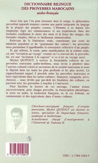 4eme Dictionnaire bilingue des proverbes marocains arabe-français