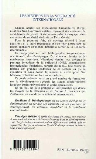 4eme LES METIERS DE LA SOLIDARITE INTERNATIONALE