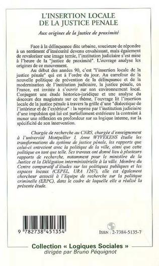 4eme L'INSERTION LOCALE DE LA JUSTICE PÉNALE