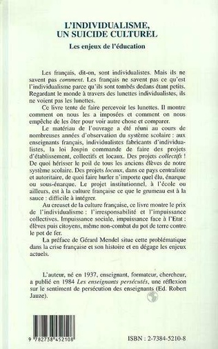 4eme L'individualisme, un suicide culturel