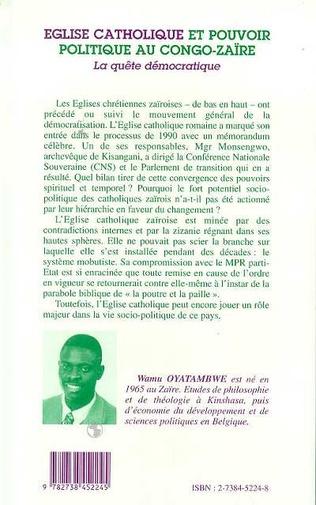 4eme Eglise catholique et pouvoir politique au Congo-Zaire