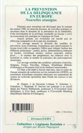 4eme La prévention de la délinquance en Europe
