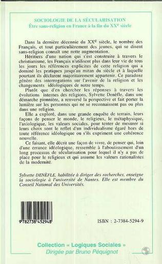 4eme SOCIOLOGIE DE LA SECULARISATION