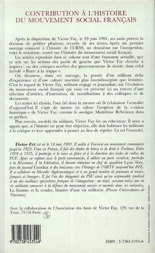 4eme Contribution à l'histoire du mouvement social français