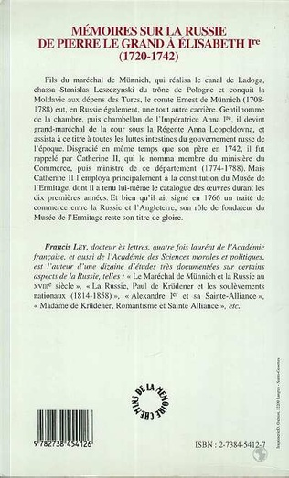 4eme Mémoire sur la Russie de Pierre Le Grand à Elisabeth Ière (1720-1742)