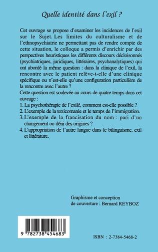 4eme QUELLE IDENTITE DANS L'EXIL ? (Origine...Exil...Rupture...)