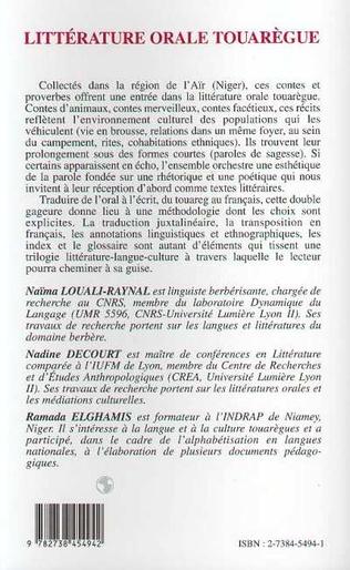 4eme Littératures orale touarègue