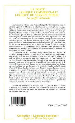 4eme La poste: logique commerciale, logique de service public