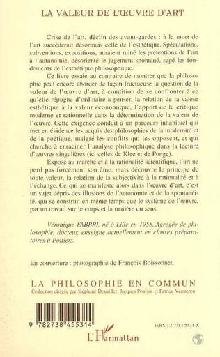 4eme LA VALEUR DE L'OEUVRE D'ART